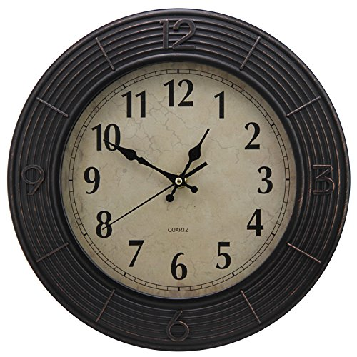12″ Vintage Concentric Circle Patterned Round Rustic Quiet Wall Clock