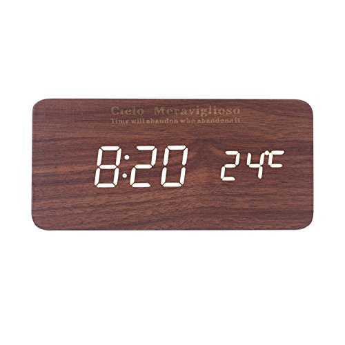 Cielo Meraviglioso Wood LED Clock with Voice Control,Temperature,Time,Alarm,Date Display and Snooze Mode Function (brown+white LED)