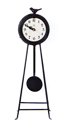 "NIKKY HOME Vintage Frech Country Style Metal Round Floor Clock with Pendulum and Bird for Living Room BedRoom Garden Home Decor 5.9"" by 5.1"" by 17.7"", Black"