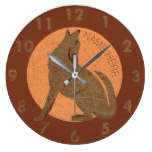 Rustic Coyote Southwest Faux Leather Name Large Clock