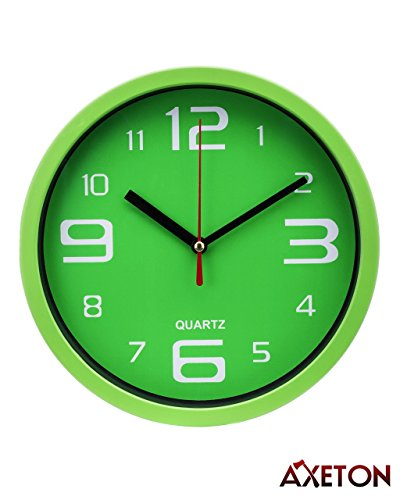 Axeton Decorative Modern Wall Clock, 7 Inches, Green styled, AA Battery Operated