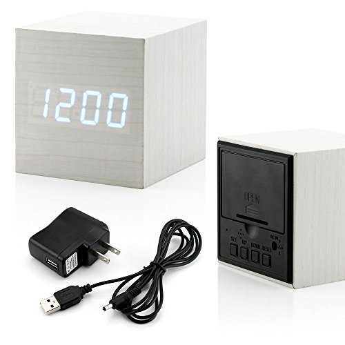 GEARONIC TM Ultra Modern Wooden LED Clock Square Cube Digital Alarm Thermometer Timer Calendar Updated 2016 Brighter LED – White