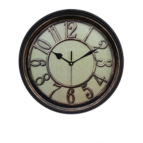 Foxtop 12.5 Inch European-style Antique Round Wall Clock Non-ticking Mute Silent Quartz Movement Clocks Decorative