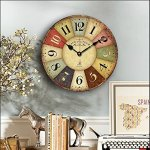 14-inch Paris French Style Wood Clock, Eruner Rustic French Country *Cafe De La Tour* Shabby Chic Retro Style Non-Ticking Wooden Wall Clock Kitchen Livingroom Bedroom Decoration(14″, #01)