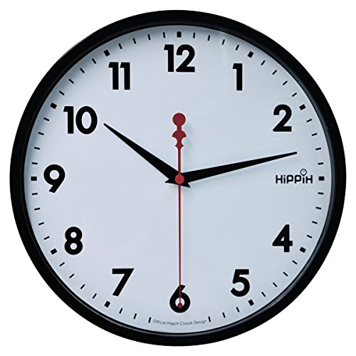 Hippih 10″ Silent Quartz Decorative Wall Clock with Glass Cover Non-ticking Digital,2315-A