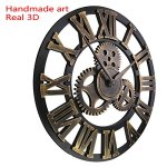 QNDREZ Handmade Oversized 3D Retro Rustic Decorative Luxury Art Big Gear Wooden Vintage Large Wall Clock on The Wall for Gift (20 inches(50*50cm))