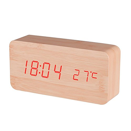 NAMEO LED Digital Electronic Alarm Wood Clock, Displays Time and Temperature, Voice Control, Powered by Batteries/USB (Bamboo Wood & Red LED)
