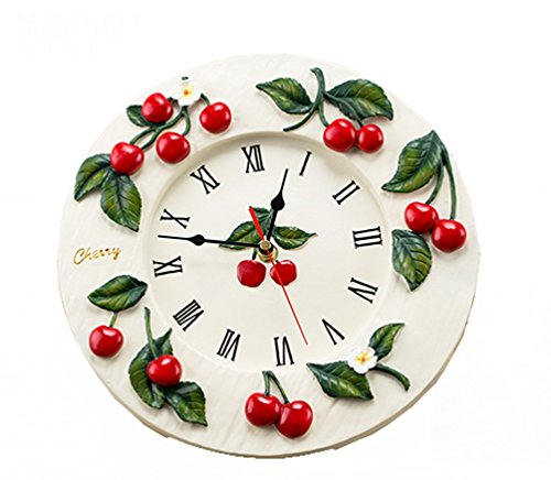 Hot Living Room Kitchen Artistic Quality Resin Wall Clock Fashion Red Cherry Rustic Clock