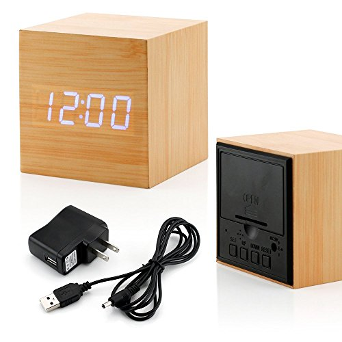 GEARONIC TM Ultra Modern Wooden LED Clock Square Cube Digital Alarm Thermometer Timer Calendar Updated 2016 Brighter LED – Bamboo