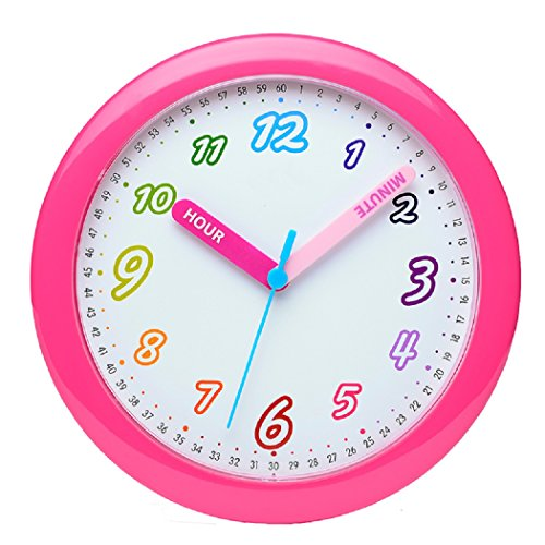 Maytime Colorful Arabic Numerals Lovely Dial Room Home Children's Round Wall Clock 10 Inch(Rose)