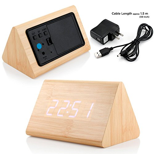 GEARONIC TM Modern Triangle Wood LED Wooden Alarm Digital Desk Clock Thermometer Classical Timer Calendar Updated 2016 Brighter LED – Bamboo (White Light)