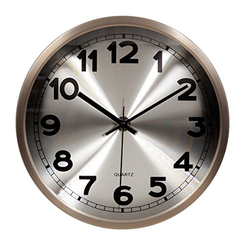 Hippih 12″Silent Non-ticking Wall Clock- Metal Frame Glass Cover,501-A