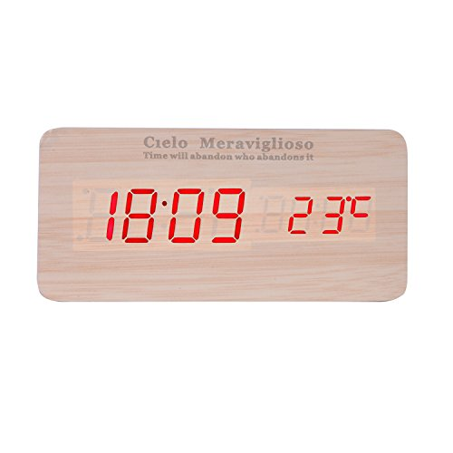 Cielo Meraviglioso Wood LED Clock with Voice Control,Temperature,Time,Alarm,Date Display and Snooze Mode Function (yellow+red LED)