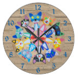 happy colorful cats mandala on wood blue numbers large clock