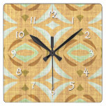 Mint Green Brown Retro Chic Nouveau Mosaic Pattern Square Wall Clock