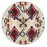 MOHAVE, mm33, Tribal/Western/Motif Rd/Tan/Wh Large Clock