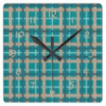Teal Turquoise Brown Tartan Plaid Pattern Square Wall Clock