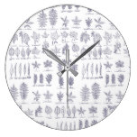 Trendy leaf pattern large clock