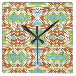 Turquoise Lime Green Burnt Orange Tribal Pattern Square Wall Clock