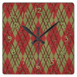 Vintage Classic Chic Argyle Plaid Tartan Pattern Square Wall Clock