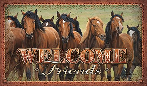 VoojoStore Welcome Friends Horse Door Mat – Perfect Gift For Men Women Couples Grandpa Father Mother Engagement Wedding Anniversary Christmas Birthday Him Her Sister Wife Husband
