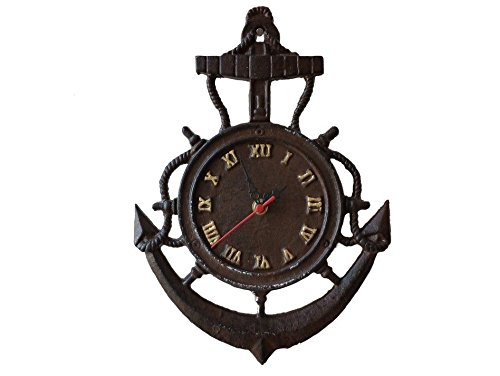 Rustic Cast Iron Vintage Anchor Clock 12″ – Marine Clock – Nautical Wall Hangin