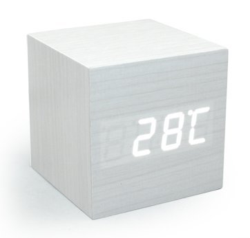 Mini White LED Wooden Alarm Clock Displaying Time Temperature Voice Touch Activated for Desktop Home Office (White)