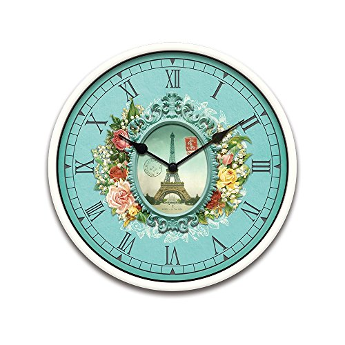 Pretty Cute Attractive Christmas Home Decor Decorative French Country Tuscan Style Wall Clock Vintage Retro Floral Eiffel Print Electric Battery Round Clock For Kitchen Living Room-Eiffel Tower-039