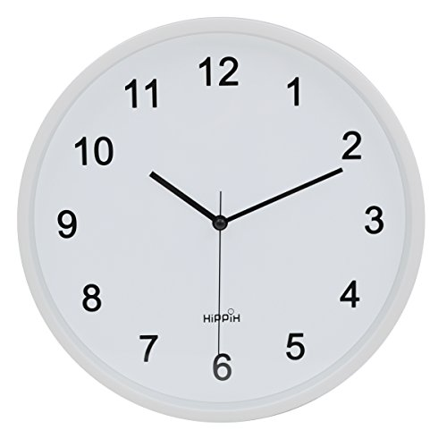 Hippih 10″ Silent Quartz Decorative Wall Clock with Glass Cover Non-ticking Digital(white number)