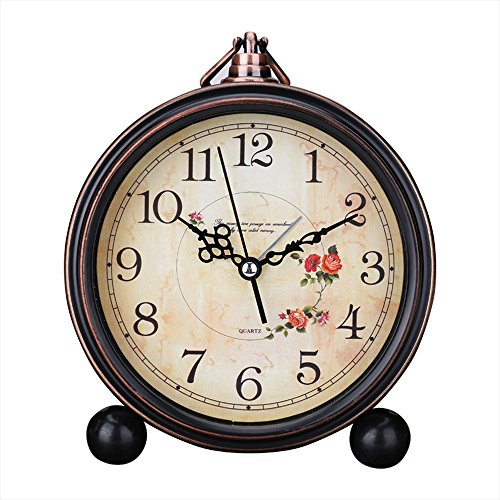 Kaimao Vintage Style Alarm Clock 5″ (13cm) Silent Antique Retro Table Clock with Hanging Loop – Camellia