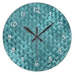 Faux Rattan Teal Turquoise Zigzag Weave Pattern Large Clock
