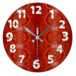 Red Imprinted Leather Look Design Print Large Clock