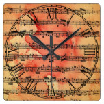 Victorian Music Sheet Wallpaper Square Wall Clock
