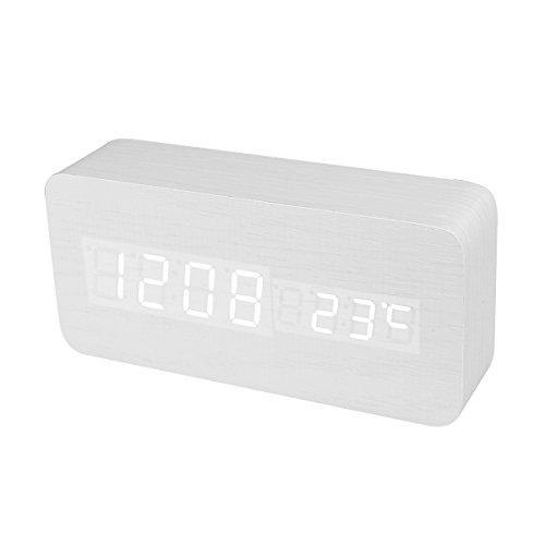 Rectangular Mini Dual-Screen Wooden White LED Table Clock Sound Activated Digital Alarm Clock