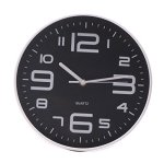 SonYo Indoor/Outdoor Simple Modern Big 3D Arabic Numerals Silent Quartz Non-ticking Wall Clock 14 Inch Black