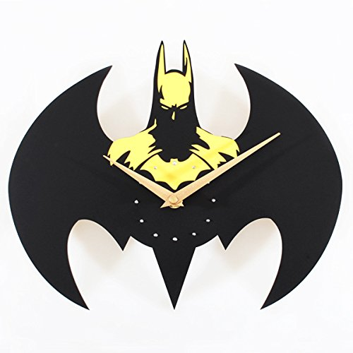 Foxtop Batman Super Creative Fashion Wall Clock /Quartz Watches and Clocks, Batman Modeling (Yellow)