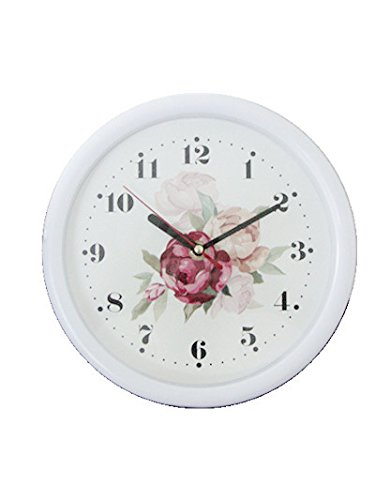 Foxtop Silent Wall Clock 8-inches Non Ticking Digital Quiet Sweep Decorative Vintage Plastic Floral Clocks(white)