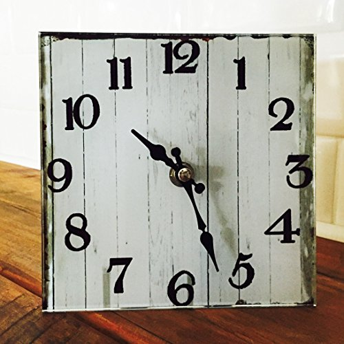 The Americana Heritage Home White Clock, Quartz Movement, Glass and Metal, 6 x 6 Inches, 1AA Battery Required, By Whole House Worlds