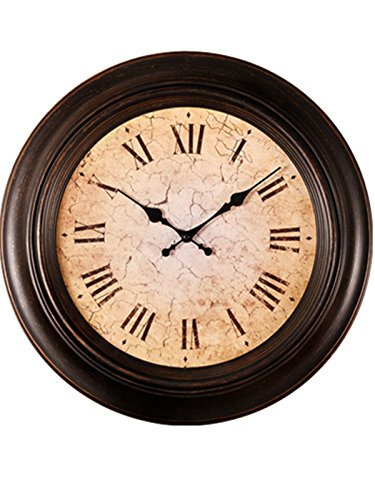 Foxtop 18 Inch Antique – Look Large European Style Creative Living Room Artistic Hanging Wall Clock Vintage Roman Numeral Design Super Silent Metal , Whisper Quiet, Non-ticking, Bigger