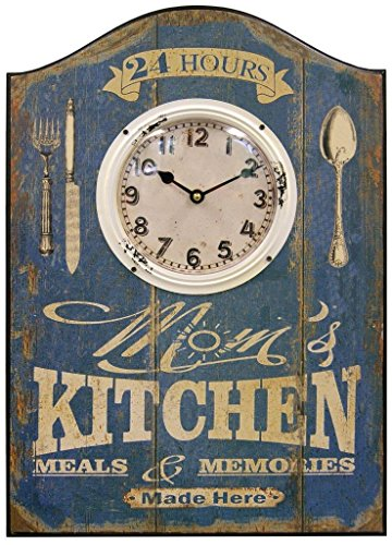 Mom's Kitchen Decorative Wall Plaque With Clock And Distressed Face 14 x 20 x 1 Inch Quartz movement