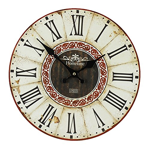 Rustic Style Red and Cream Roman Numeral Wall Clock by Haysom Interiors