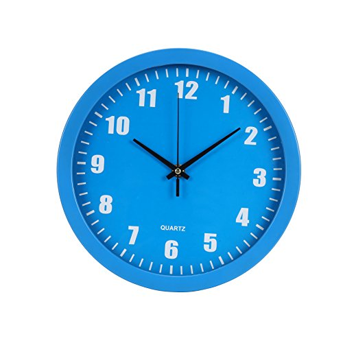 Blu Monaco Modern Round Stylish Elegant Home Kitchen/Living Room Wall Clock 10 inches – Blue – Contemporary Design for the Home – A Beautiful, Functional Accessory