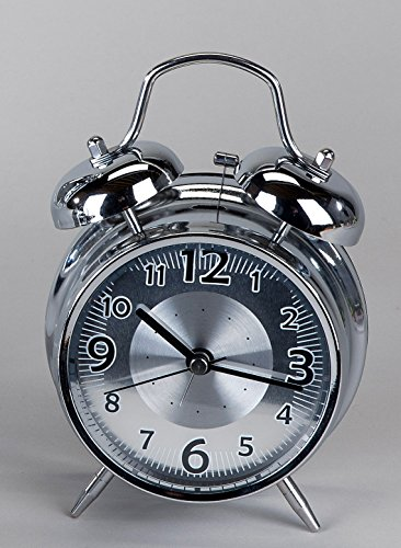 Formano Alarm Clock Table Grandfather Decorative Silver 12 cm With Black Dial