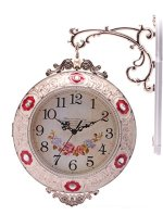 SonYo Indoor/Outdoor Antiquity European Style Double-Sided Royal Wall Hanging Clock with Rose design Home Decor Included Hanger 14 Inch Red