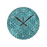 Faux Rattan Teal Turquoise Zigzag Weave Pattern Round Clock