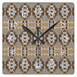 Trendy Native American Indian Cabin Mosaic Pattern Square Wall Clock