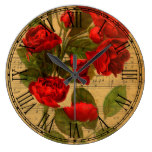 Victorian Music Sheet Watercolor Rose Wallpaper Large Clock