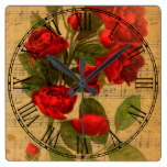 Victorian Music Sheet Watercolor Rose Wallpaper Square Wall Clock
