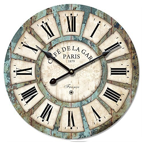 Eruner 12-inch Vintage Wood Wall Clock – France Paris Colourful French Country Tuscan Style Non-Ticking Silent Wooden Wall Clock (#03)