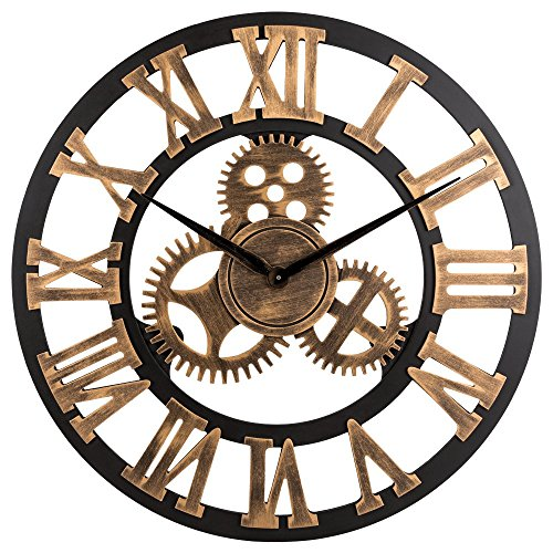 23-inch Noiseless Silent Gear Wall Clock – Extra Large Huge Handmade Oversized 3D Retro Rustic Country Decorative Luxury Art Big Wooden Vintage for House Warming Gift,(Roman Numeral,Anti-Bronze)